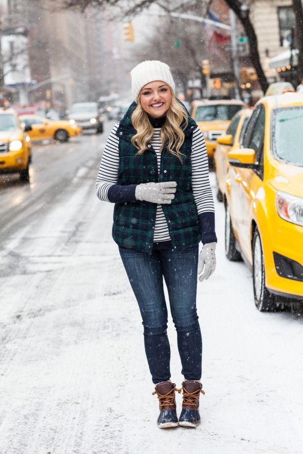 First Real Snow in NYC -- Plaid Puffer Vest, Striped Tee, Beanie, and Duck Boots!