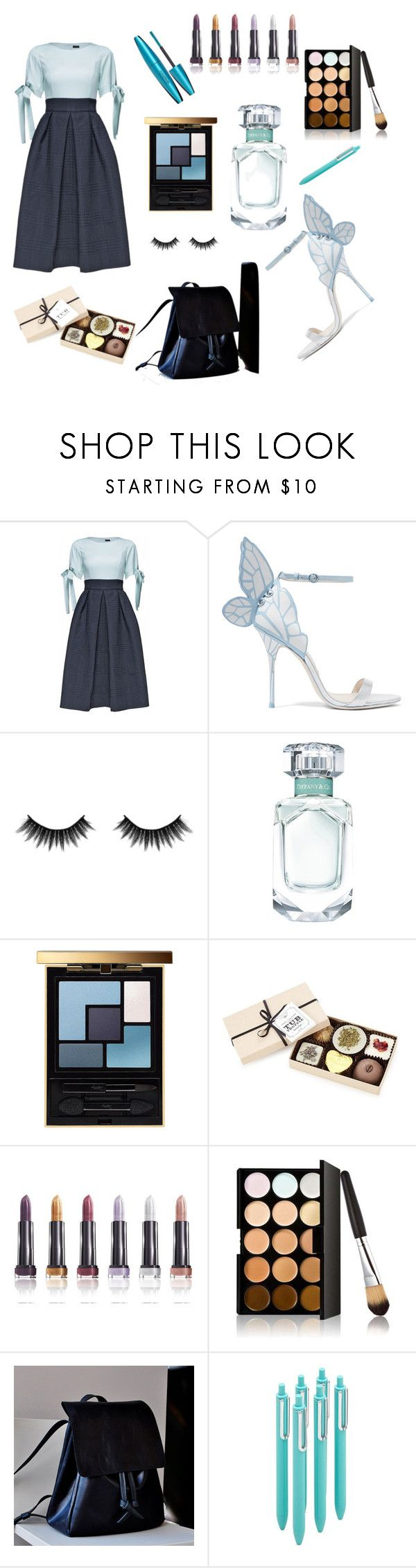 """""""Office party dress look"""" by miloni-jhaveri ❤ liked on Polyvore featuring Lattori, Sophia Webster, Morphe, Yves Saint Laurent and poppin."""