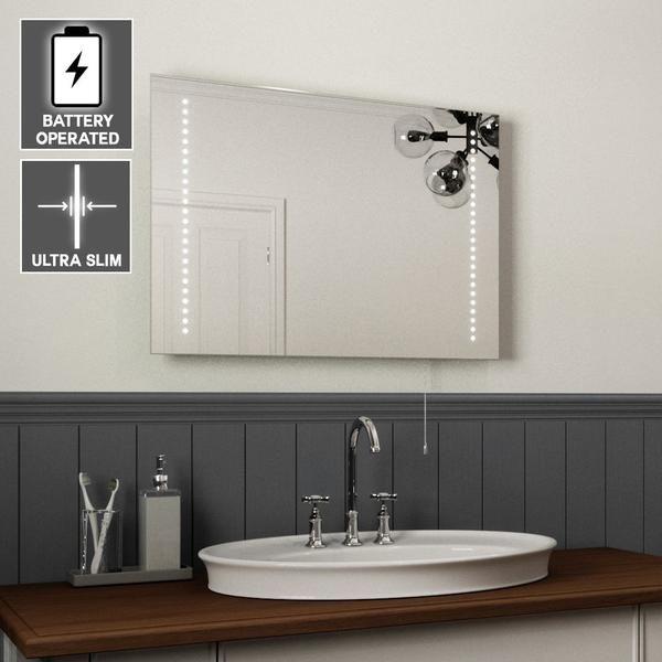 Battery Operated Led Bathroom Mirror Ultra Slim 50x70cm Led Mirror Bathroom Bathroom Interior Bathroom Mirror Lights