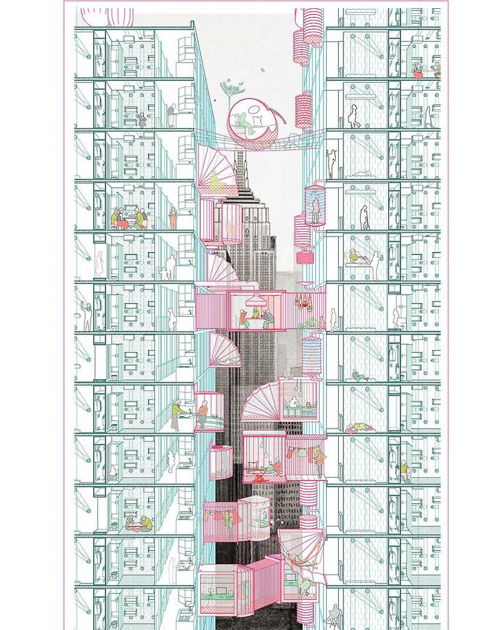 A perspective section by Zhehui Chang from the Advanced Architecture Studio Hybrid Residential Infrastructures In Manhattan: Occupying Chinatown taught by Juan Hereros and Ignacio G. Galan in Summer 2015