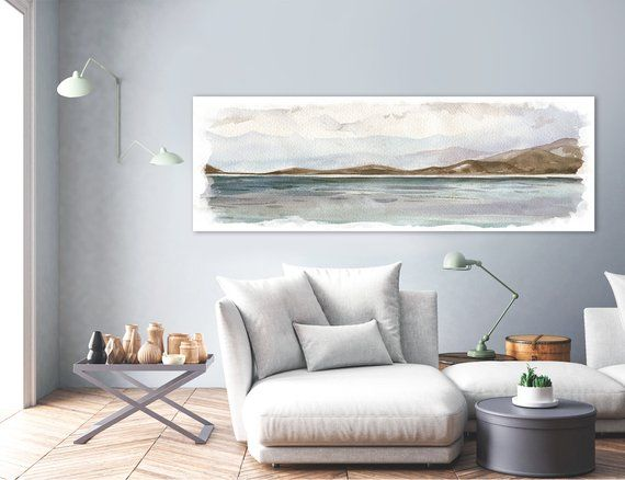 Large Coastal Landscape Painting Contemporary Watercolor Etsy Large Canvas Wall Art Watercolor Wall Art Large Landscape Painting