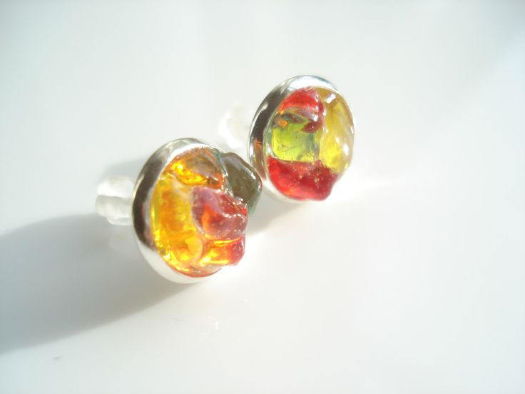 Seaham Sea Glass rockpool stud earrings of various coloured pieces - E1284 - from Seaham beach,  UK by peblsrock on Etsy https://www.etsy.com/uk/listing/210949088/seaham-sea-glass-rockpool-stud-earrings