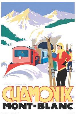 Art Deco-style ski posters from Pullman Editions