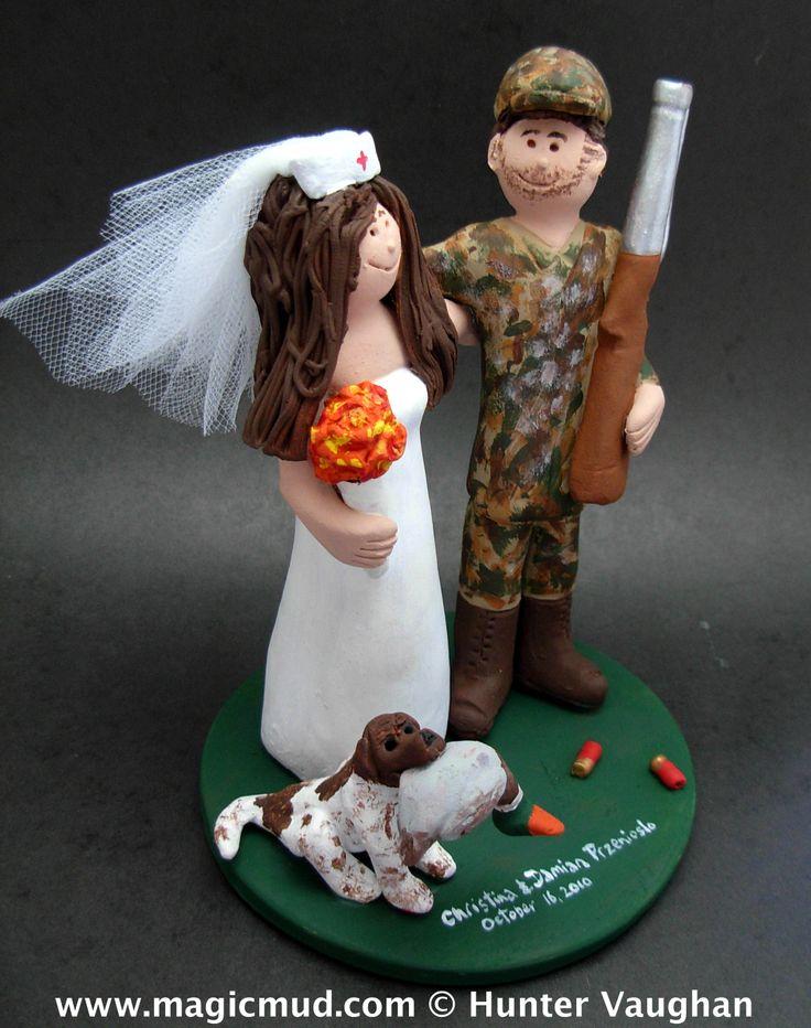 Nurse with Camouflage Hunter Wedding Cake Topper www.magicmud.com 1800 231 9814     $235 magicmud@magicmud.com https://www.facebook.com/PersonalizedWeddingCakeToppers http://blog.magicmud.com www.twitter.com/caketoppers made to order wedding cake toppers for hunters and their brides!  keywords: #nurse #hunting #hunter #hunter'sWedding #redneckWedding #weddingCakeTopper #camouflageWedding #duckHunter #hunter'sAnniversary #shotgunWedding #camouflageGroom