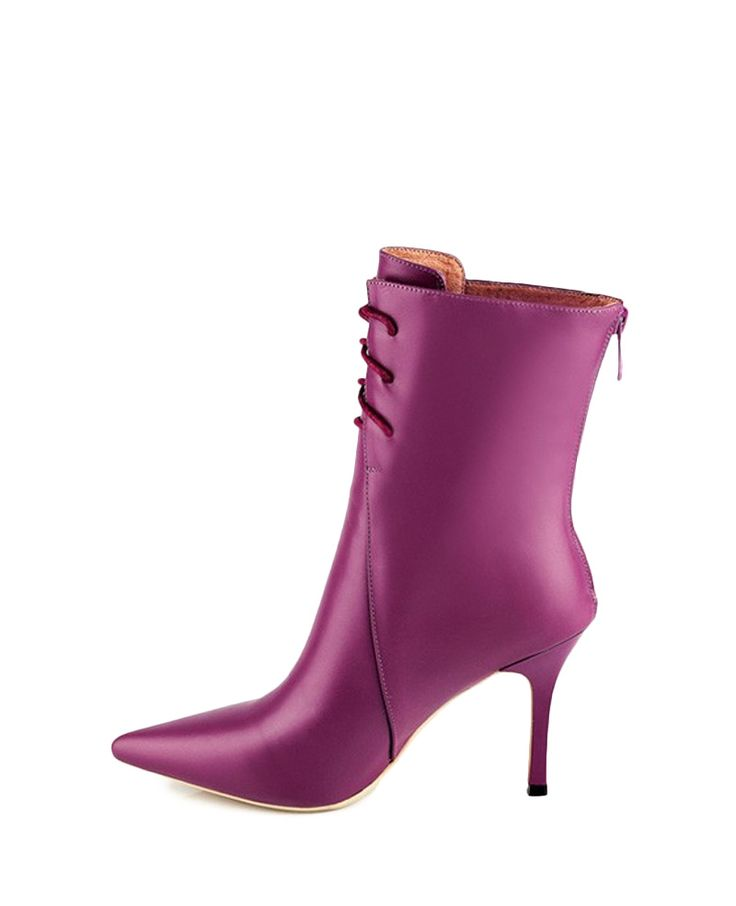 Solid-tone Pointed-toe High-heel Lace-up Boots