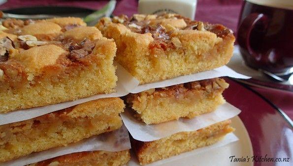 Crispy Walnut Carmel Slice