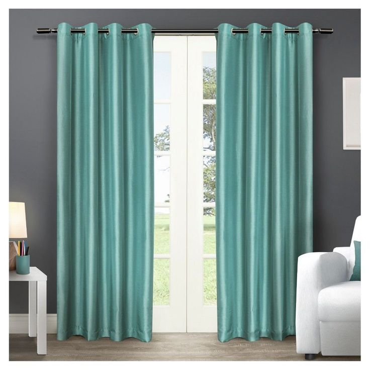"""Chatra Faux Silk Grommet Top Window Curtain Panel Pair Teal (Blue) (54""""x108"""") - Exclusive Home"""