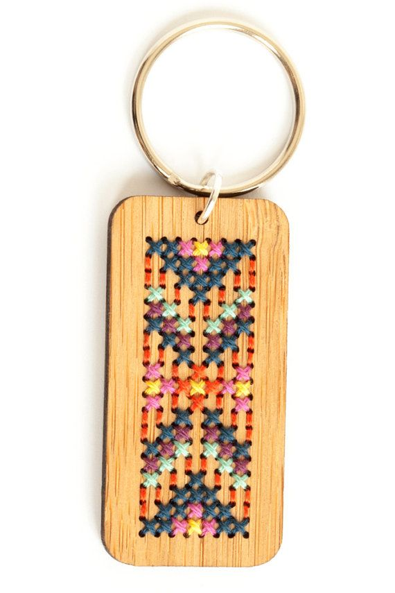 Cross Stitch Kit Stitched Wood Key Ring DIY by RedGateStitchery