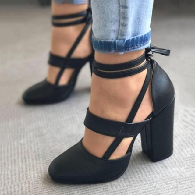 Frau pumpt schuhe high heels plus size pumps lässig frühling sommer heels knöchel ...