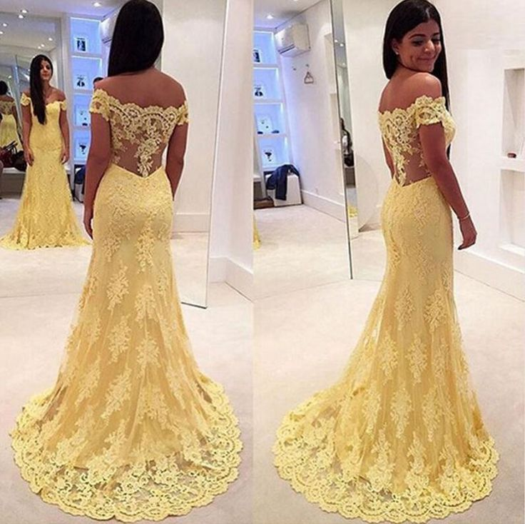 Prom Gown,Yellow Prom Dresses With Lace,Off The Shoulder