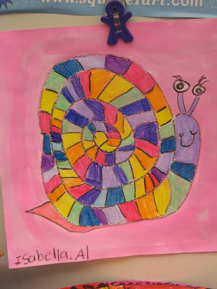Jamestown Elementary Art Blog: 1st Grade Rainbow Order Snails - ROY G BIV