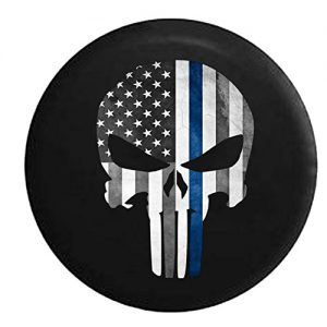 Punisher Skull Military Sniper Thin Blue Line Police Support Spare Jeep Wrangler Camper SUV Tire Cover 30 in