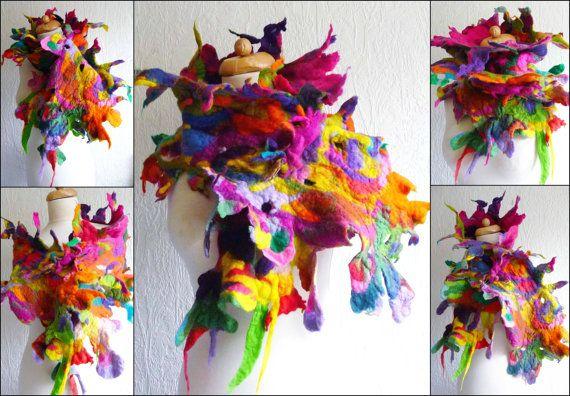 Felted Wool Scarf Handmade Felt Wrap Spikyholey