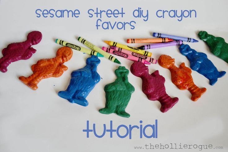 Sesame Street DIY crayon favors!