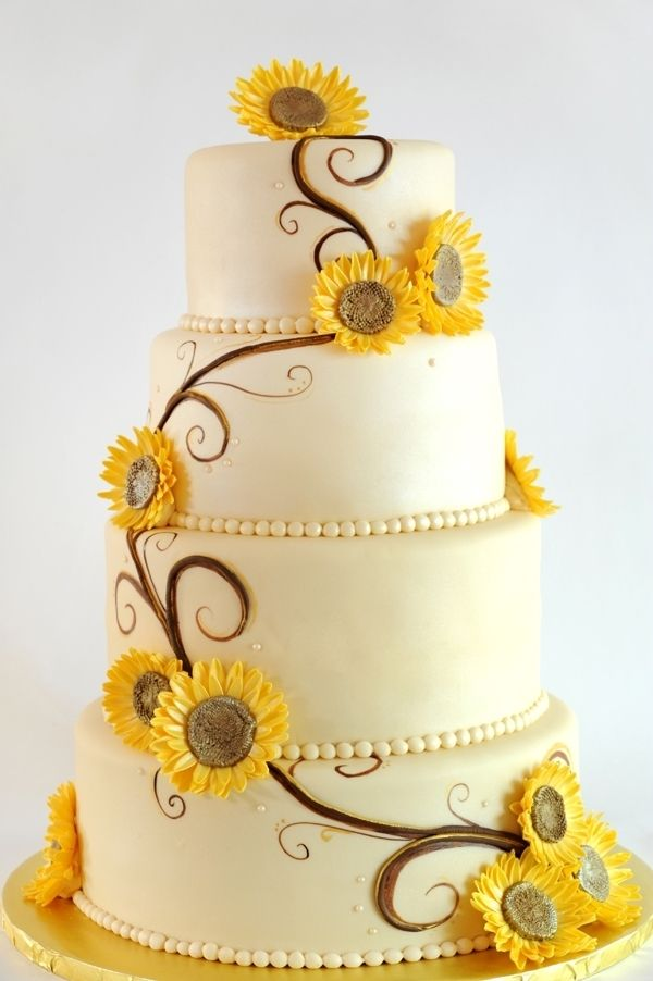 Modern sunflower wedding cake.