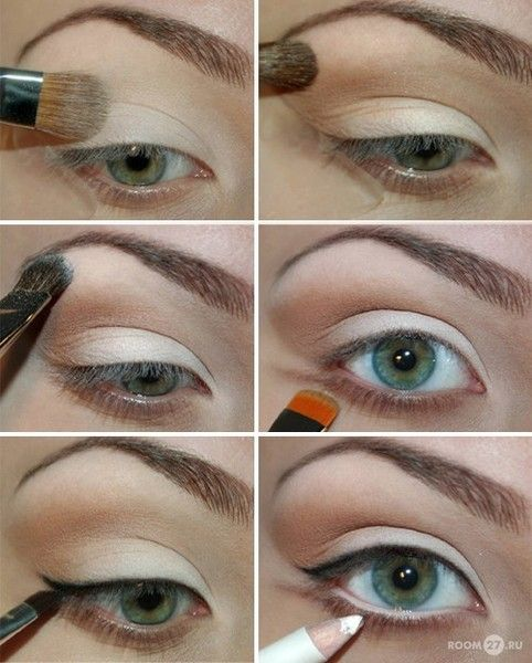 Bone shadow; taupe in crease & outer V; highlight browbone; shadow on bottom lashline; black liquid eyeliner on top lashes; white liner in water line; mascara top & bottom lashes