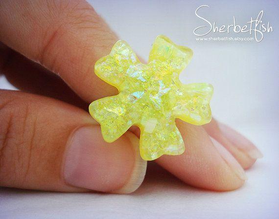 Yellow snowflake ring Gift Handmade jewellery by Sherbetfish