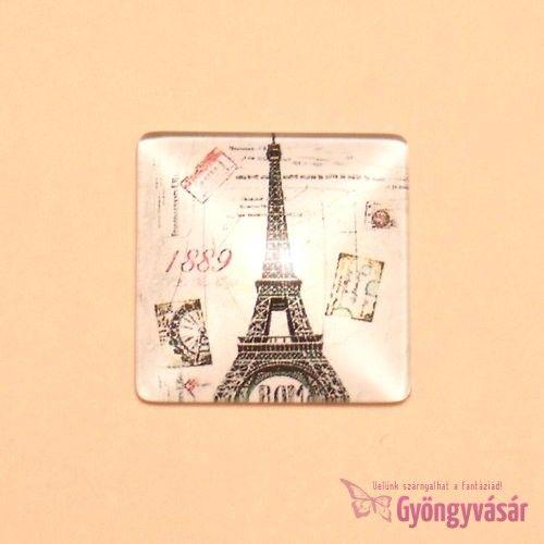Párizs mintás, négyzet alakú, 25 mm-es üveglencse • Gyöngyvásár.hu