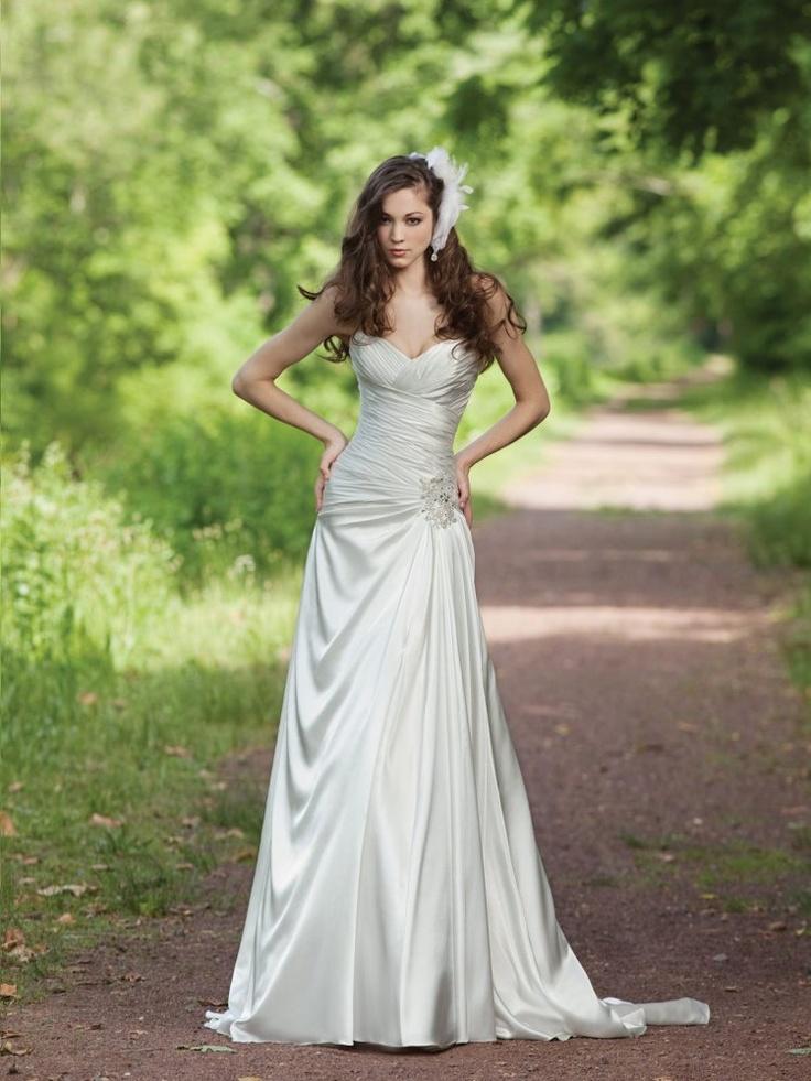 A Line Sweetheart Ruched Bodice Beaded Side Waist Satin Wedding Dress Wa0243 25495