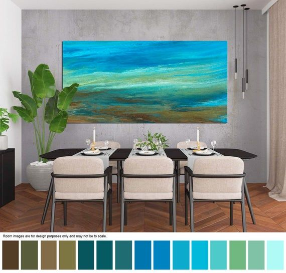 Brown blue & teal print of abstract painting, Long horizontal canvas wall art, over bed decor, above