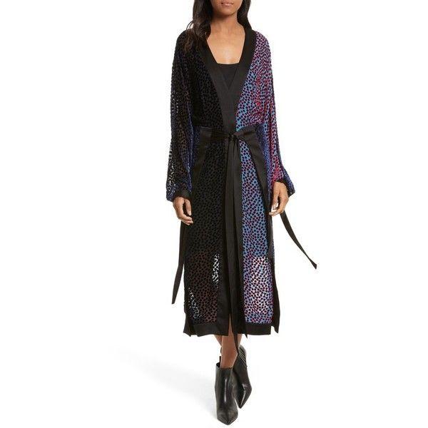 Women's Diane Von Furstenberg Burnout Velvet Kimono Wrap Dress (€510) ❤ liked on Polyvore featuring dresses, deep violet multi, long kimono, polka dot dress, long dresses, long slip dress and velvet burnout kimono