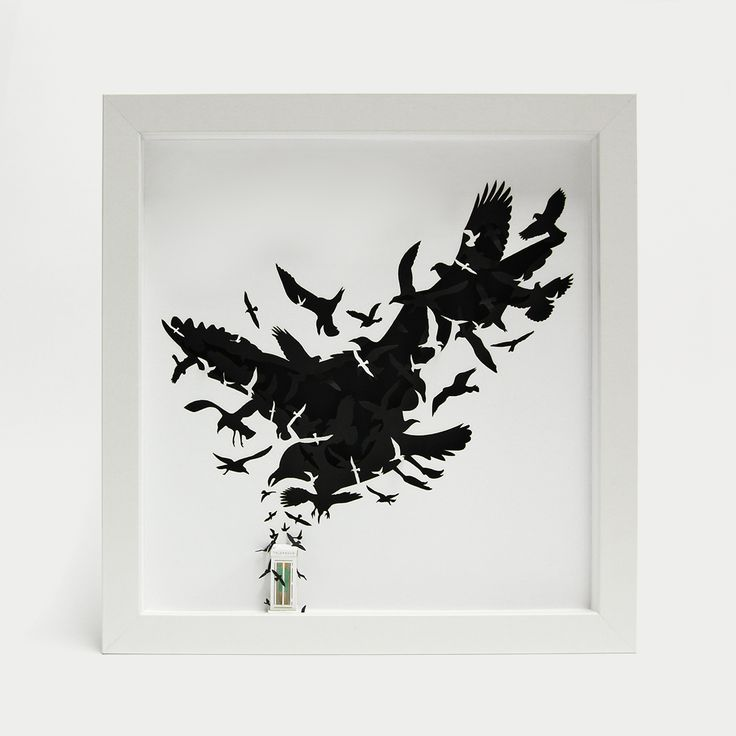 """The Birds - 3d papercut miniature - 175€ - www.thesmallestboy.com/en/shop """" They tired of being caged . Nothing will ever be the same. It is the end of the world """"   Three dimensional paper artwork inspired in Alfred Hitchcock movie """"The Birds"""".  Limited Edition, 100 copies."""