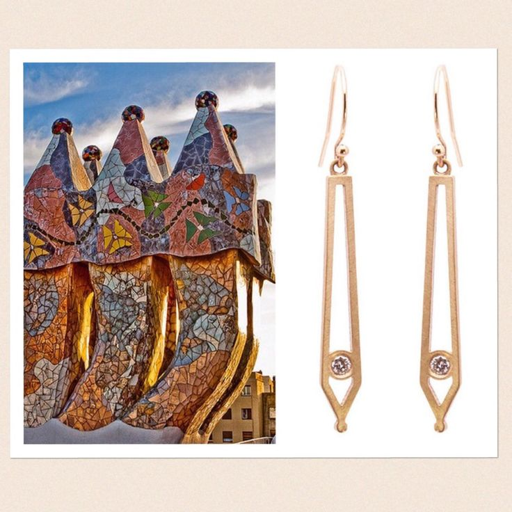Casa Batllo in Barcelona, Spain designed by Antoni Gaudi. Gorgeous architectural inspiration for my Golden Eye Drop Earrings! Beautiful Mother's Day Gift!