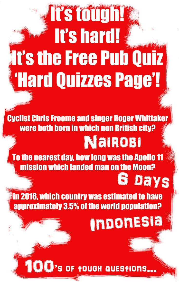 Hard and tough quiz questions to test the best quizzers free pub quiz offers hundreds
