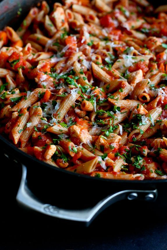 Every home cook needs a go-to healthy pasta recipe, with a great homemade tomato sauce. This one will take you only 30 minutes, from stovetop to table.