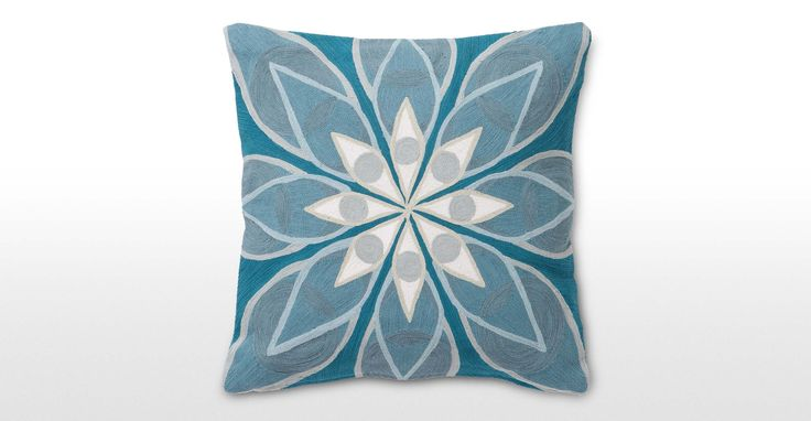Eyes Embroidered Cushion 45 x 45cm, Blue | made.com