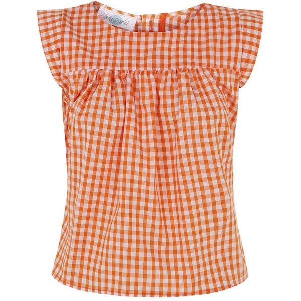 The Smock Top Orange Gingham ($59) ❤ liked on Polyvore featuring tops, red gingham top, smocked top, red top, button down top and orange top