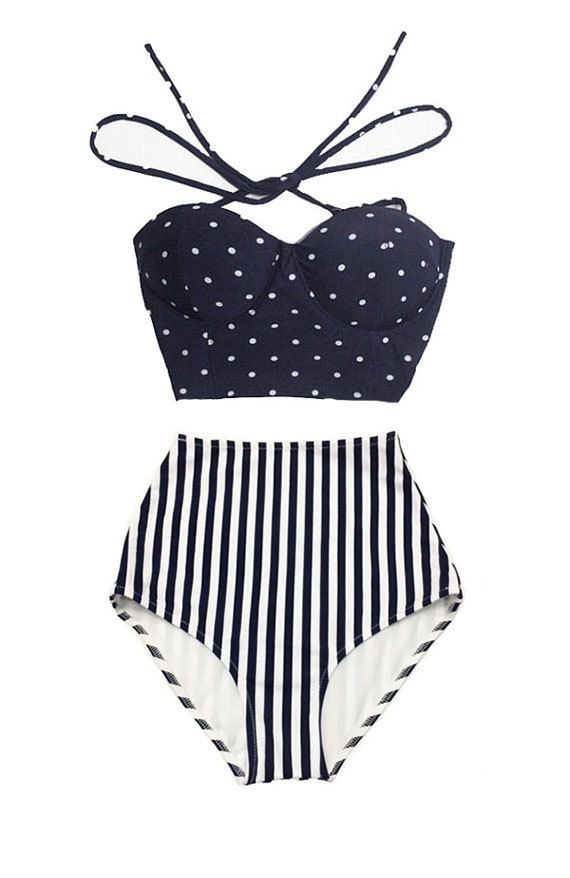 Navy Blue Polka dot Tie Back Top and Stripe Striped High Waisted Waist Shorts Bottom Woman Women Swimsuit Swimwear Bikini Bathing suit S M L