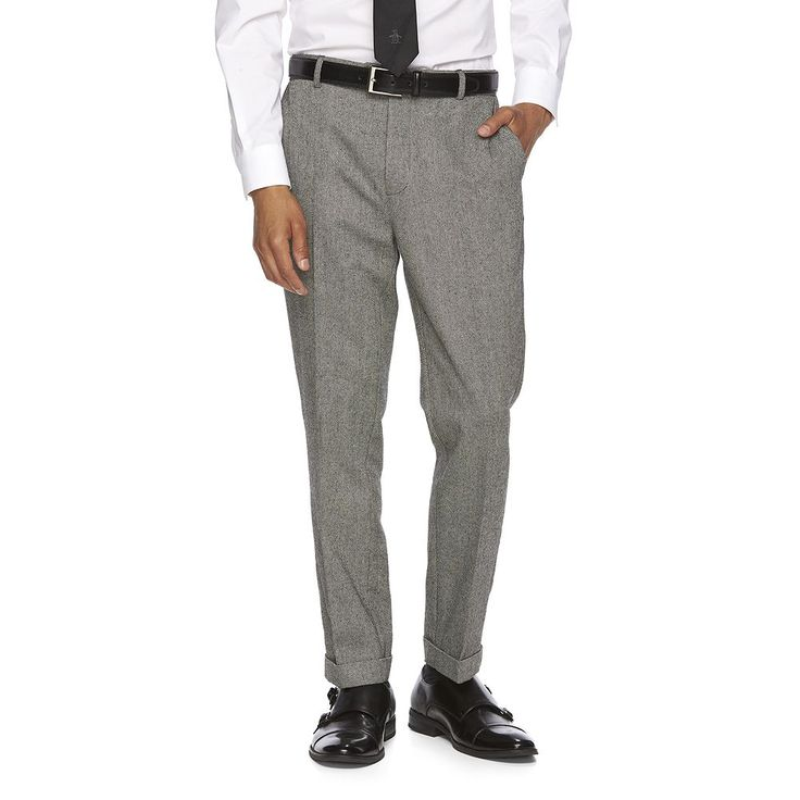 Men's WD.NY Slim-Fit Tweed Flat-Front Suit Pants, Size: 31X32, Grey (Charcoal)