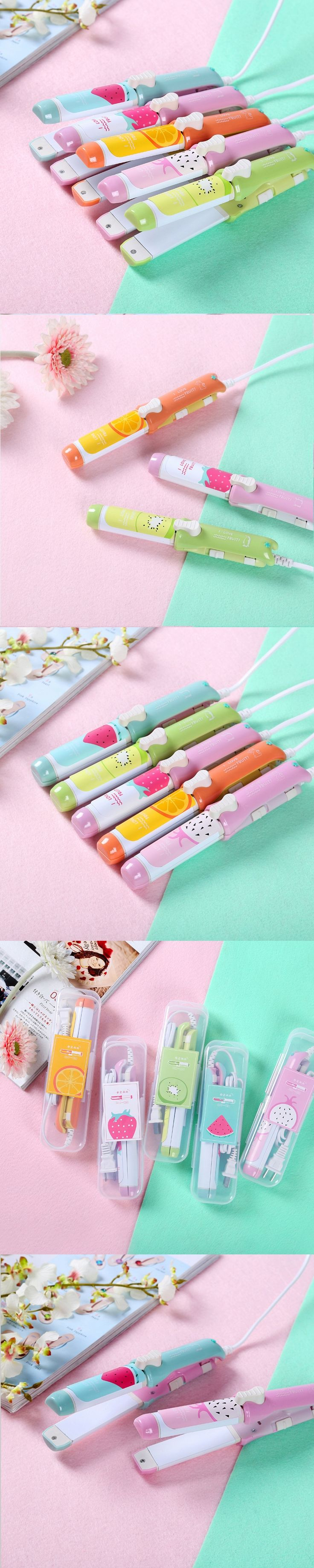 At Fashion hair curling irons 2 in 1 Travel Electric curling hair tools Cute 220V Mini Hair straightener and hair curler
