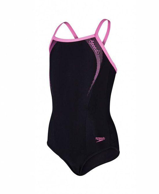 Speedo Sports Logo Thinstrap Muscleback  Badpak - Maat 152  - Vrouwen - zwart/roze