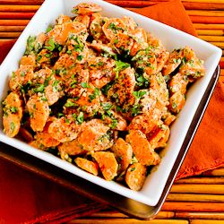 Barely-Cooked Carrots with Tahini, Lemon, Garlic, and Sumac Dressing Vegan, Potentially gluten-free (check prepared ingredients and spices) contains citrus