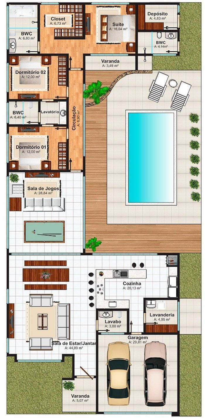 This is another nice floor plan. I like the outside bathroom entrance and the storage space. This can easily be built in passive solar too.