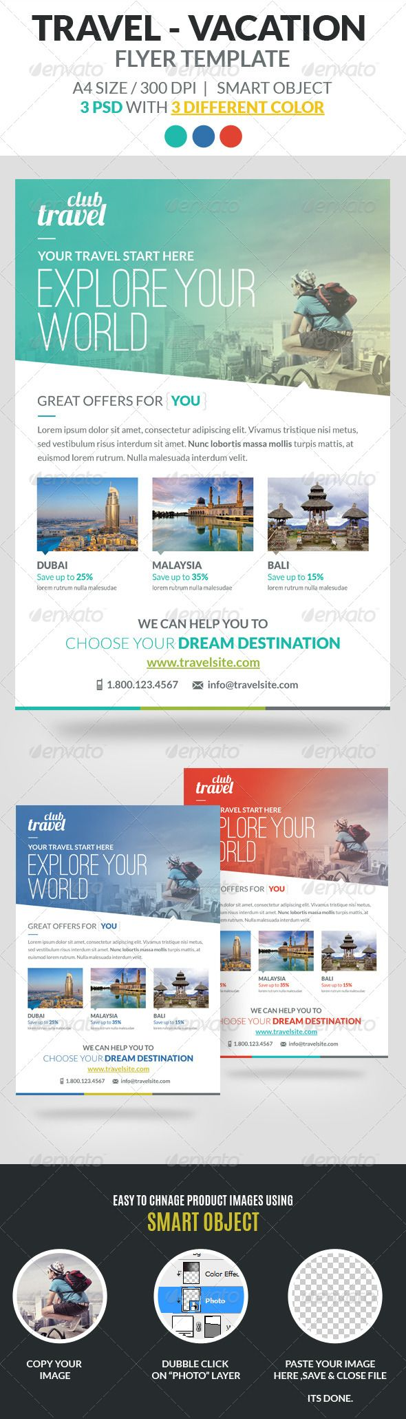 Travel - Vacation Flyer Template - Holidays Events