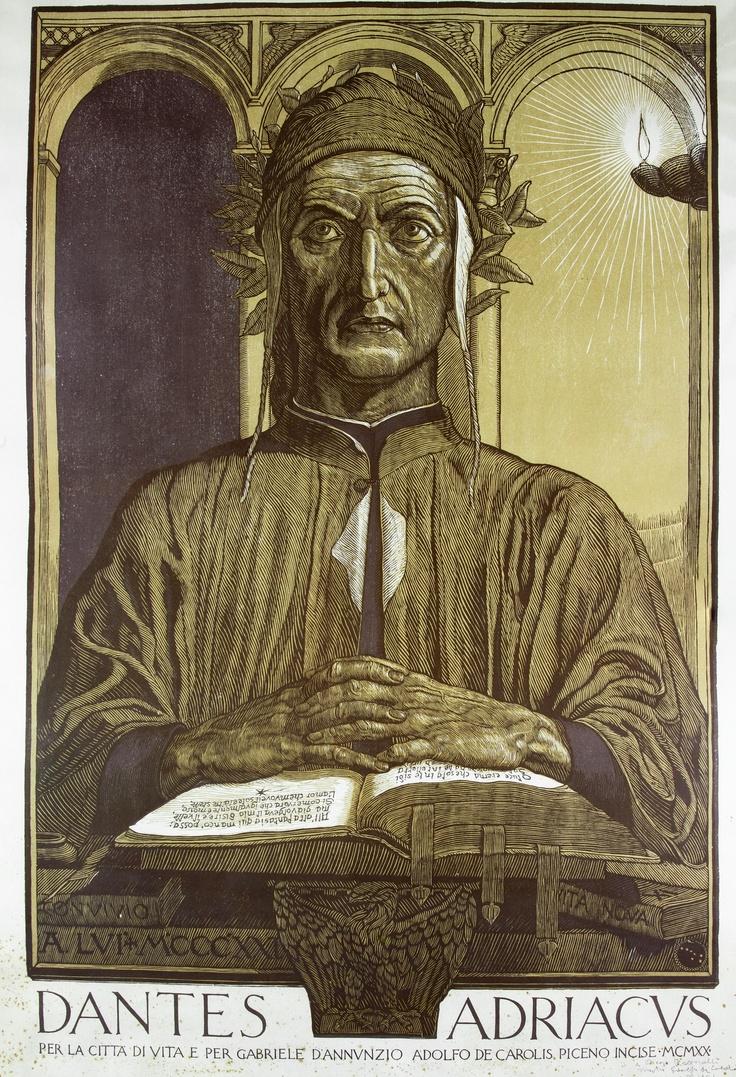 Adolfo De Carolis, Dante Adriaticus per la città di Vita e per Gabriele D'Annunzio, manifesto, Roma Alfieri & Lacroix, 1920