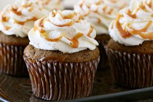 Pumpkin Spice Latte Cupcakes- I'd make these with Our Best Bites vanilla cupcake frosting/filling-- yumm!