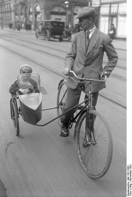 Bicycle and sidecar, Berlin, Germany, November 1931. Source: Deutsches Bundesarchiv (German Federal Archive)