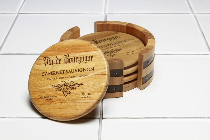 5 Piece Wine Cask Coaster Set