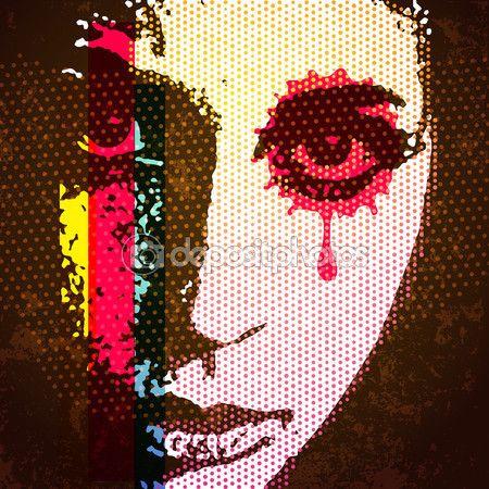 Portrait numérique pop art de style des années 60. Jeune femme portrait avec h — Illustration #89801480