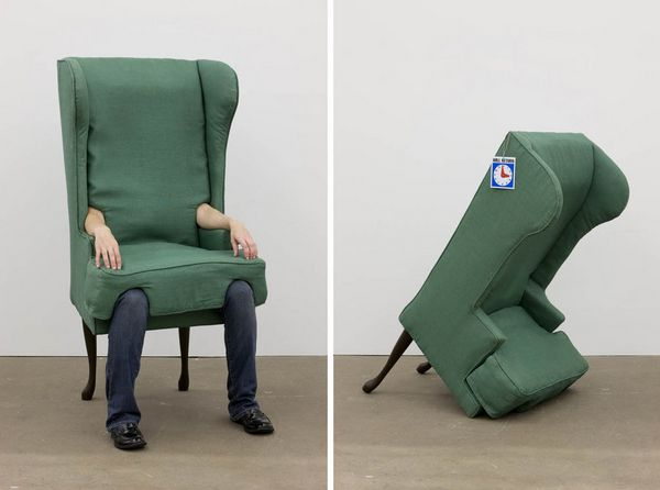 Arm Chair, 2006  Wood, metal, nylon, raw cotton, linen, hardware, human arms, human legs, Will Return sign  Dimensions variable