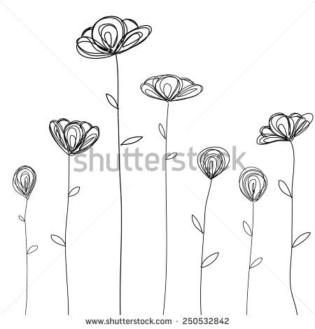 Flowers Doodle Sketch Isolated Vector - 250532842 : Shutterstock