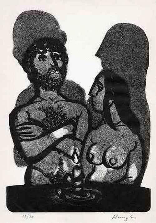 Hunziker,Max : ADAM & EVA Kein PARADIES in SICHT -  Handsignierte Handätzung des SCHWEIZER Surrealisten