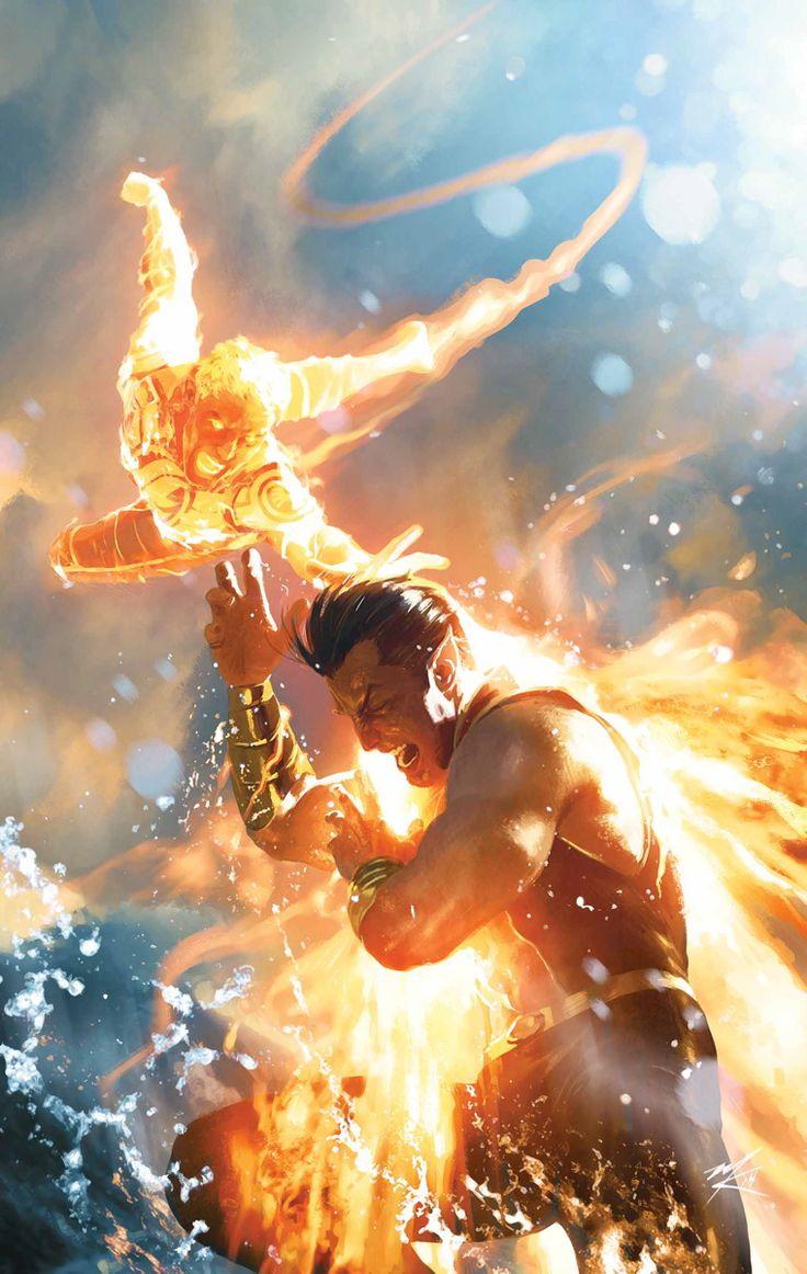 Original Human Torch vs  Sub-Mariner by Michael Komarck Johnny Storm vs. Prince Namor, yiiissssss.