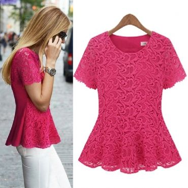 New Style Woman O Neck Short Sleeve Solid Red Cotton Blouse
