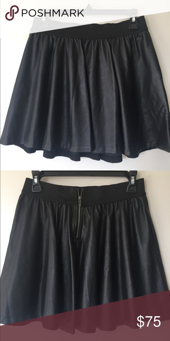 Armani Exchange faux vegan leather skirt (black) Practically new AX skirt, made from 100% rayon with polyurethane coating, this has the stylish luxury leather look without the sacrifice. A/X Armani Exchange Skirts Mini