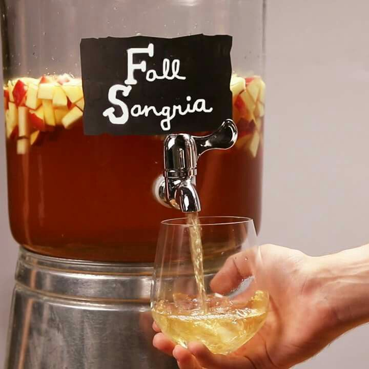 Apple Cinnamon Fall Sangria   Ingredients-    6 apples (Gala)  3 pears  750mL cinnamon whiskey 1 bottle Pinot Grigio  64oz bottled apple cider  1 liter club soda  Cinnamon sticks to garnish (optional)    Dice apples and pears into small cubes. Place them in a bowl or jar and pour in cinnamon whiskey. Cover and let soak for 2 hours. Pour in wine, apple cider, and club soda. Serve over ice with a cinnamon stick!
